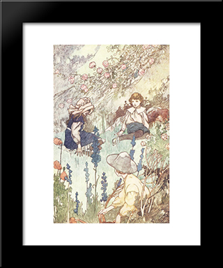 The Secret Garden: Modern Black Framed Art Print by Charles Robinson