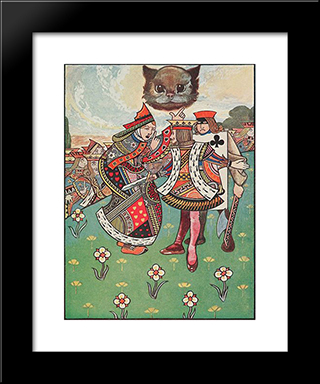 There Was A Dispute Going On Between The Executioner, The King, And The Queen: Modern Black Framed Art Print by Charles Robinson