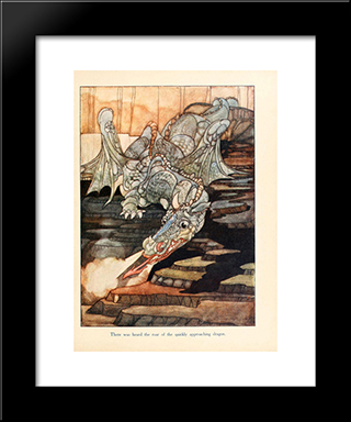 There Was Heard The Roar Of The Quickly Approaching Dragon: Modern Black Framed Art Print by Charles Robinson