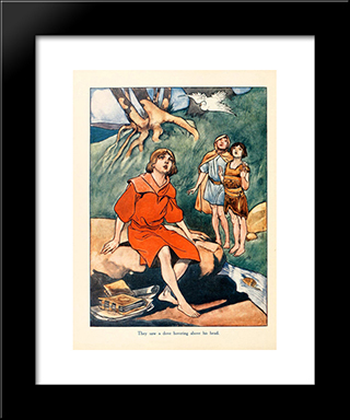 They Saw A Dove Hoverind Above His Head: Modern Black Framed Art Print by Charles Robinson