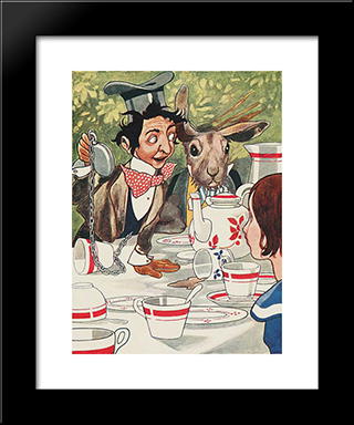 What Day Of The Month Is It - He Said Turning To Alice: Modern Black Framed Art Print by Charles Robinson