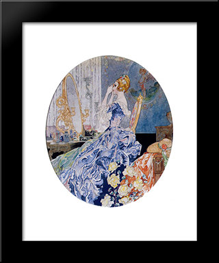 Woman At Her Vanity: Modern Black Framed Art Print by Charles Robinson