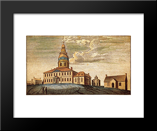 A Front View Of Statehouse At Annapolis: Modern Black Framed Art Print by Charles Willson Peale