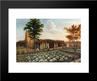 Cabbage Patch, The Gardens Of Belfield, Pennsylvania: Modern Black Framed Art Print by Charles Willson Peale