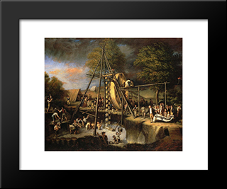 Exhumation Of The Mastadon: Modern Black Framed Art Print by Charles Willson Peale