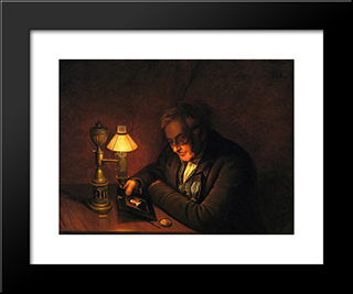 James Peale (Also Known As The Lamplight Portrait): Modern Black Framed Art Print by Charles Willson Peale