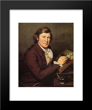 James Peale Painting A Miniature: Modern Black Framed Art Print by Charles Willson Peale