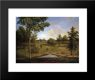 Landscape Looking Towards Sellers Hall From Mill Bank: Modern Black Framed Art Print by Charles Willson Peale
