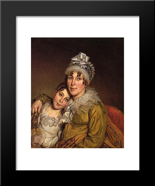 Mother Caressing Her Convalescant Daughter: Modern Black Framed Art Print by Charles Willson Peale