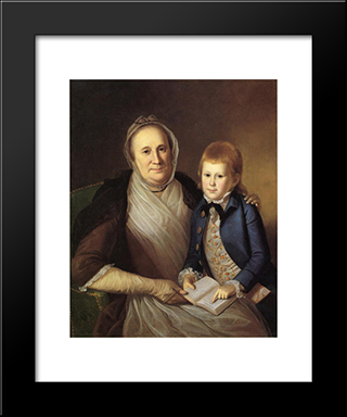 Mrs. James Smith And Grandson: Modern Black Framed Art Print by Charles Willson Peale