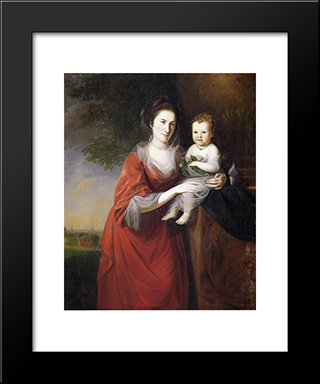 Mrs. John Dickenson And Her Daughter: Modern Black Framed Art Print by Charles Willson Peale