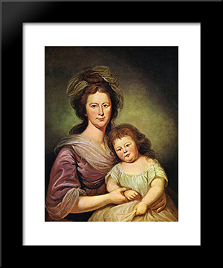 Mrs. Thomas Leiper And Her Daughter, Helen Hamilton Leiper: Modern Black Framed Art Print by Charles Willson Peale