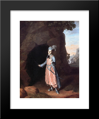 Nancy Hallam As Fidele In Shakespeare'S Cymbeline: Modern Black Framed Art Print by Charles Willson Peale