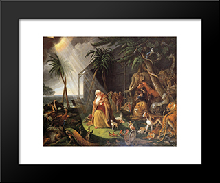Noah And His Ark (After Charles Catton): Modern Black Framed Art Print by Charles Willson Peale