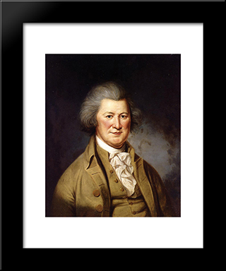 Portrait Of Colonel John Cox: Modern Black Framed Art Print by Charles Willson Peale