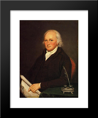 Portrait Of Edmund Physick: Modern Black Framed Art Print by Charles Willson Peale