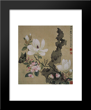 Magnolia And Erect Rock: Modern Black Framed Art Print by Chen Hongshou