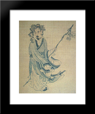 Portrait Of T'Ao Ch'Ien: Modern Black Framed Art Print by Chen Hongshou
