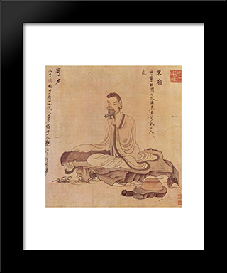 Portrait Of Tao Yuanming: Modern Black Framed Art Print by Chen Hongshou
