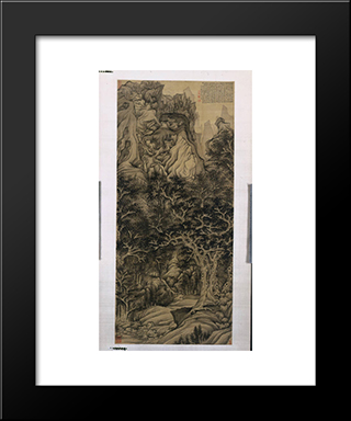 The Mountain Of The Five Cataracts: Modern Black Framed Art Print by Chen Hongshou