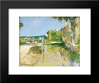A Country Road: Modern Black Framed Art Print by Childe Hassam