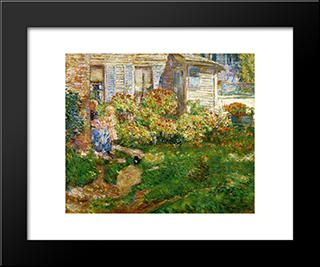A Fisherman'S Cottage: Modern Black Framed Art Print by Childe Hassam