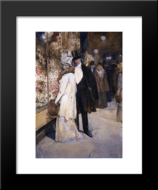 A New Year'S Nocturne, New York: Modern Black Framed Art Print by Childe Hassam