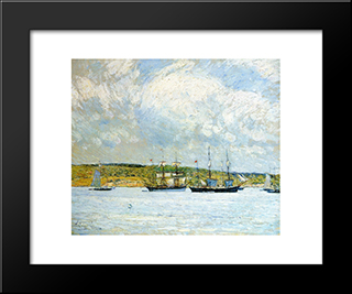 A Parade Of Boats: Modern Black Framed Art Print by Childe Hassam