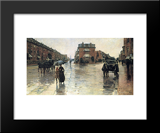 A Rainy Day In Boston: Modern Black Framed Art Print by Childe Hassam