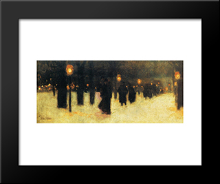 Across The Common On A Winter Evening: Modern Black Framed Art Print by Childe Hassam