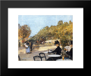 At The Cafe: Modern Black Framed Art Print by Childe Hassam