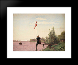 A View From Dosseringen Near The Sortedam Lake Looking Towards The Suburb Norrebro Outside Copenhagen: Modern Black Framed Art Print by Christen Kobke