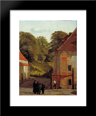 A View Of The Square In The Kastel Looking Towards The Ramparts: Modern Black Framed Art Print by Christen Kobke