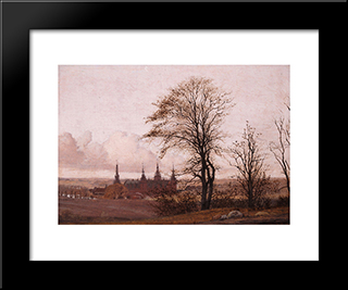 Autumn Landscape, Frederiksborg Castle In The Middle Distance: Modern Black Framed Art Print by Christen Kobke