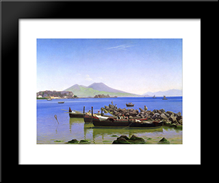 Bay Of Naples: Modern Black Framed Art Print by Christen Kobke