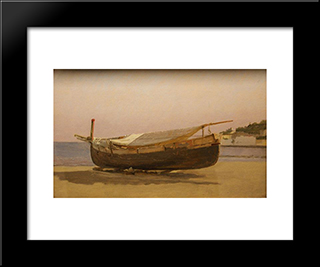 Boat Dragged On Shore: Modern Black Framed Art Print by Christen Kobke