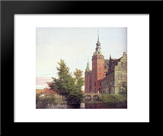 Frederiksborg Castle Seen From The Northwest: Modern Black Framed Art Print by Christen Kobke