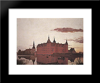 Frederiksborg Palace In The Evening Light: Modern Black Framed Art Print by Christen Kobke