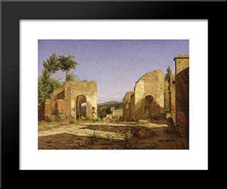 Gateway In The Via Sepulcralis In Pompeii: Modern Black Framed Art Print by Christen Kobke