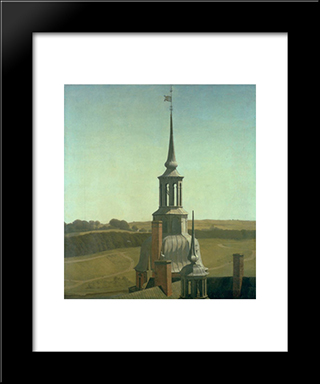 One Of The Small Towers On Frederiksborg Castle: Modern Black Framed Art Print by Christen Kobke