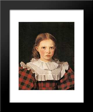 Portrait Of Adolphine Kobke, Sister Of The Artist: Modern Black Framed Art Print by Christen Kobke