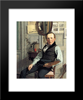 Portrait Of Frederik Hansen Sodring: Modern Black Framed Art Print by Christen Kobke