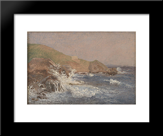 Rough Sea On A Rocky Coast: Modern Black Framed Art Print by Christen Kobke