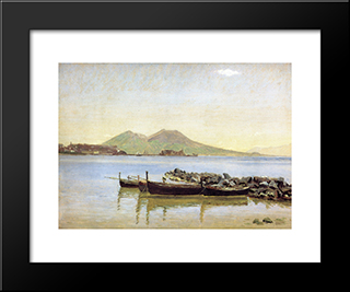 The Bay Of Naples With Vesuvius In The Background: Modern Black Framed Art Print by Christen Kobke