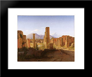 The Forum, Pompeii, With Vesuvius In The Distance: Modern Black Framed Art Print by Christen Kobke