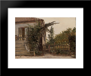 The Garden Steps Leading To The Artist'S Studio On Blegdammen: Modern Black Framed Art Print by Christen Kobke