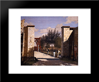 The North Gate Of The Citadel: Modern Black Framed Art Print by Christen Kobke