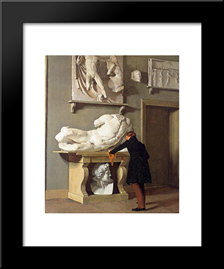 The View Of The Plaster Cast Collection At Charlottenborg Palace: Modern Black Framed Art Print by Christen Kobke