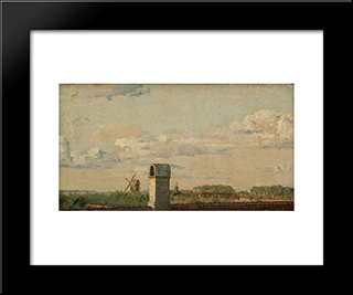 View From A Window In Toldbodvej Looking Towards The Citadel In Copenhagen: Modern Black Framed Art Print by Christen Kobke