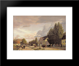 View Of A Street In Osterbro Outside Copenhagen. Morning Light: Modern Black Framed Art Print by Christen Kobke